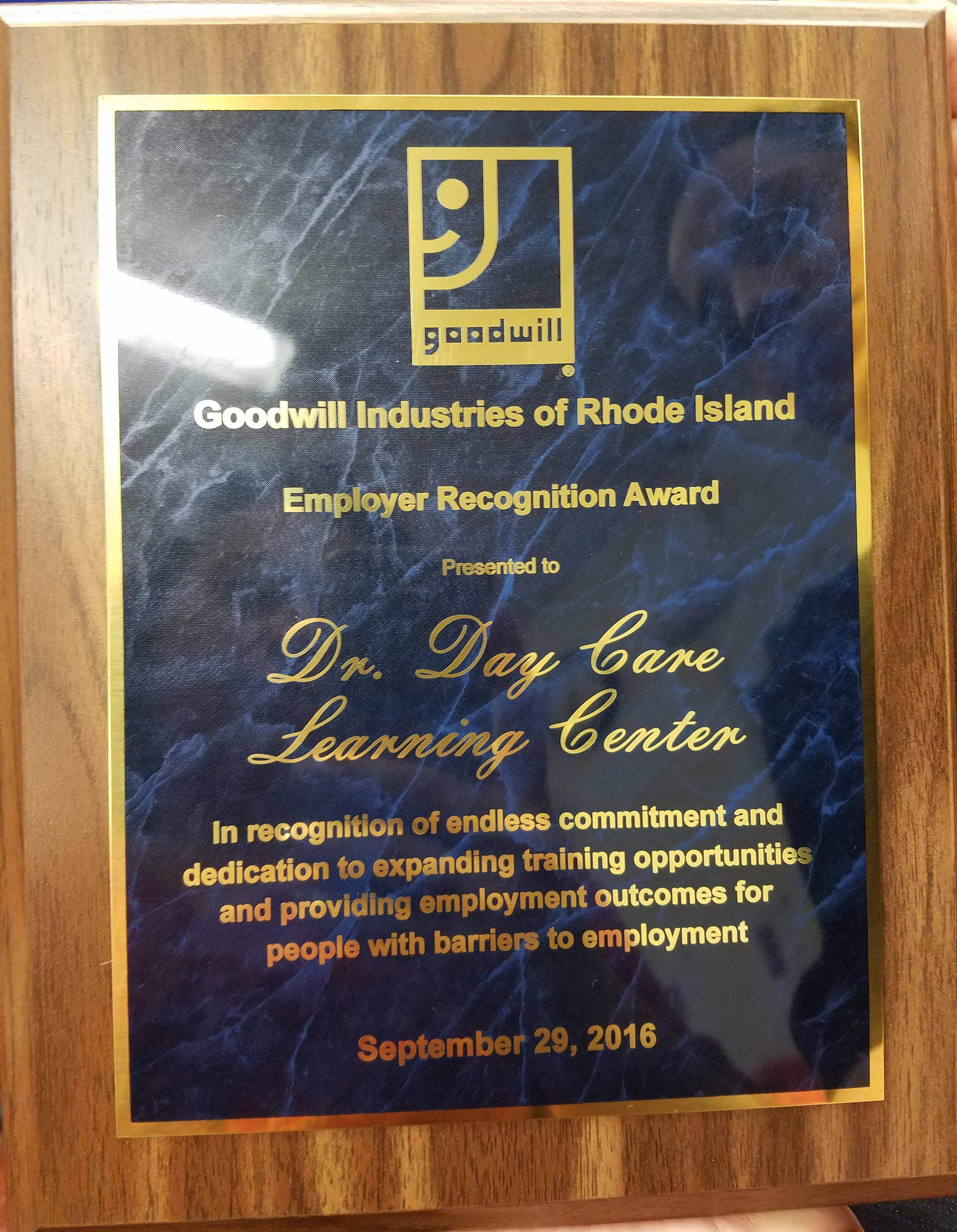 """""""Employer Recognition Award"""" from Goodwill"""